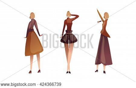 Slender Female Singing On Stage And Standing Vector Set
