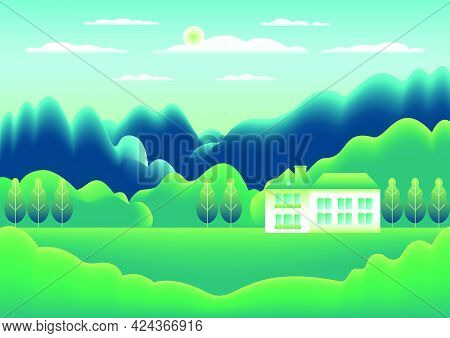 Landscape Village, Mountains, Hills, Trees, Forest. Rural Valley Scene Farm Countryside With House,