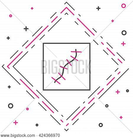 Line Scar With Suture Icon Isolated On White Background. Colorful Outline Concept. Vector