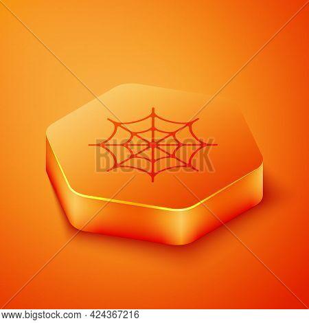 Isometric Spider Web Icon Isolated On Orange Background. Cobweb Sign. Happy Halloween Party. Orange