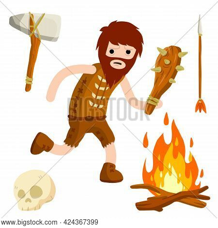 Primitive Caveman. Prehistoric Hunter. Stone Age. Man With Wooden Club. Concept Of History And Arche