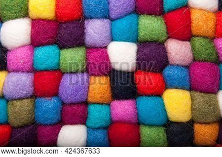 Colorful Bright Felt Dried Textile Balls Background