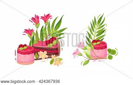 Sweet And Sugary Pink Confection With Green Foliage And Flower Vector Composition Set