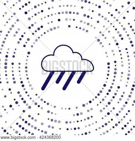 Blue Cloud With Rain Icon Isolated On White Background. Rain Cloud Precipitation With Rain Drops. Ab