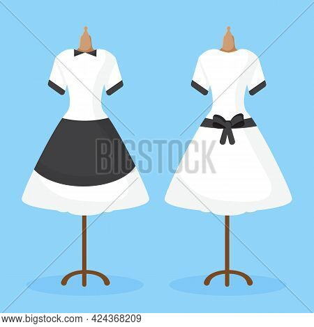 The Maid Uniform Is Seen From The Back And Front Hanging On A Mannequin.