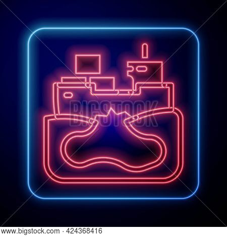 Glowing Neon Wrecked Oil Tanker Ship Icon Isolated On Black Background. Oil Spill Accident. Crash Ta