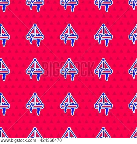 Blue Plant In Hanging Pot Icon Isolated Seamless Pattern On Red Background. Decorative Macrame Handm