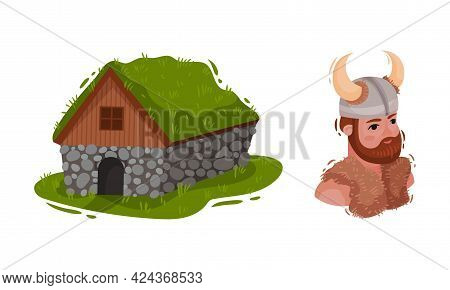 Iceland Symbols With Turf House And Man In Viking Helmet Vector Set