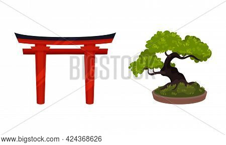 Japan Symbols With Red Torii Gate And Bonsai Tree Vector Set