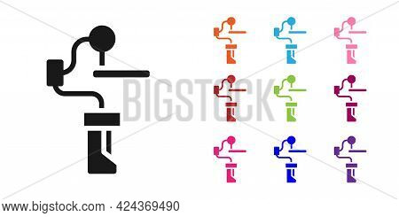 Black Gimbal Stabilizer For Camera Icon Isolated On White Background. Set Icons Colorful. Vector