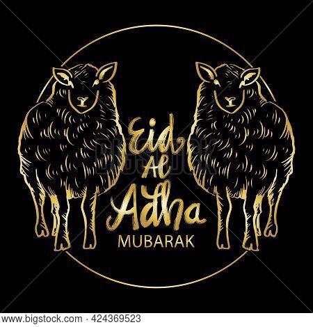 Happy Eid Al-adha With Lamb. Celebration Of Muslim Holiday