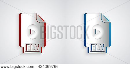 Paper Cut Flv File Document Video File Format. Download Flv Button Icon Isolated On Grey Background.