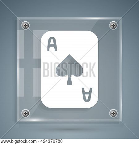 White Playing Cards Icon Isolated On Grey Background. Casino Gambling. Square Glass Panels. Vector