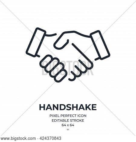 Handshake Editable Stroke Outline Icon Isolated On White Background Flat Vector Illustration. Pixel