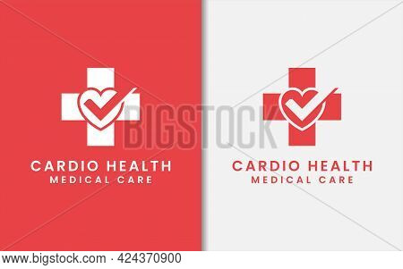 Medical Cross Symbol Combined With Hearth And Tick Symbol As The Cardio Health Care Logo Design. Gra