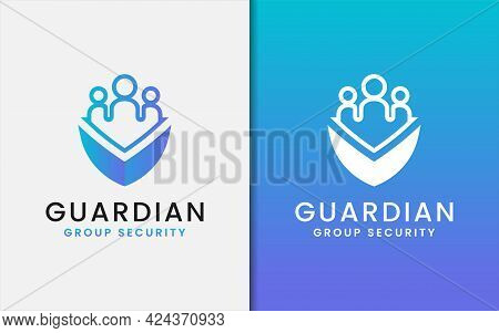 Group Business Security Logo Design With People Group And Shield Emblem Combination. Graphic Design