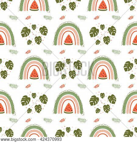 Summer Rainbow Pattern. Cute Watermelon Pattern. Summer Fruit Rainbow Tropical Leaves Seamless Backg