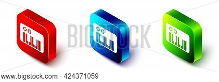 Isometric Music Synthesizer Icon Isolated On White Background. Electronic Piano. Red, Blue And Green