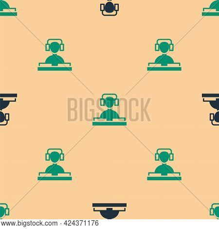 Green And Black Dj Wearing Headphones In Front Of Record Decks Icon Isolated Seamless Pattern On Bei