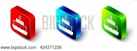 Isometric Ark Of Noah Icon Isolated On White Background. Wood Big High Cargo. Red, Blue And Green Sq