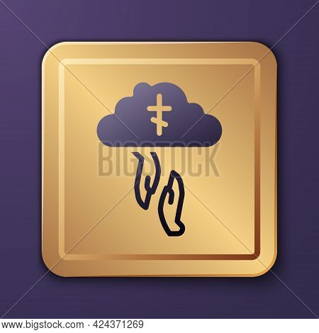 Purple Gods Helping Hand Icon Isolated On Purple Background. Religion, Bible, Christianity Concept.