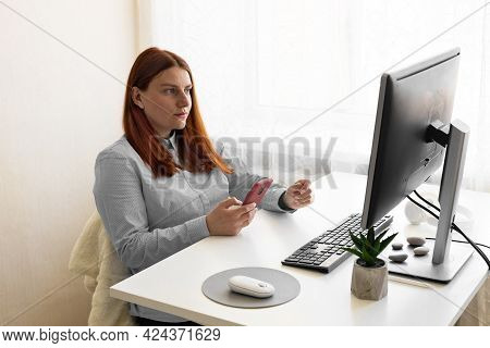 Caucasian Business Woman Making Facetime Video Calling With Smartphone At Work. Using Conferencing M