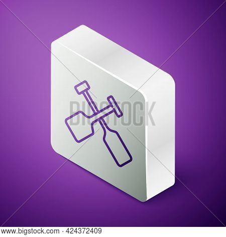 Isometric Line Paddle Icon Isolated On Purple Background. Paddle Boat Oars. Silver Square Button. Ve