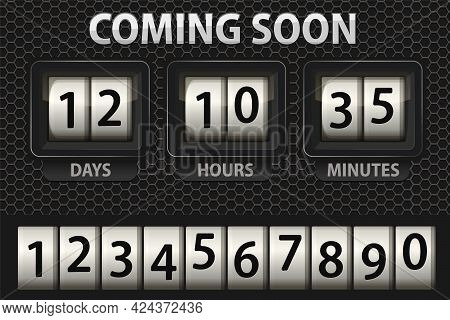 Coming Soon Illustration, Countdown Timer Template. Opening Soon For Website Template. Days, Hours A