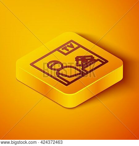 Isometric Line Television Advertising Weapon Icon Isolated On Orange Background. Police Or Military