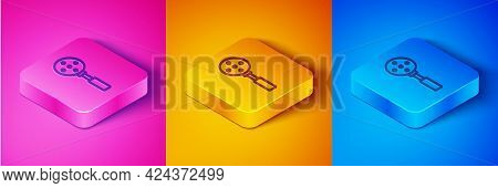 Isometric Line Spatula Icon Isolated On Pink And Orange, Blue Background. Kitchen Spatula Icon. Bbq