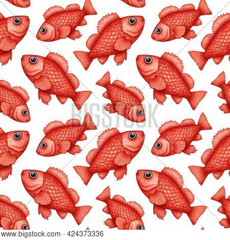 Watercolor Rose Fish, Ocean Perch Seamless Pattern. Hand Drawn Rockfish, Red Snapper. Underwater Wil