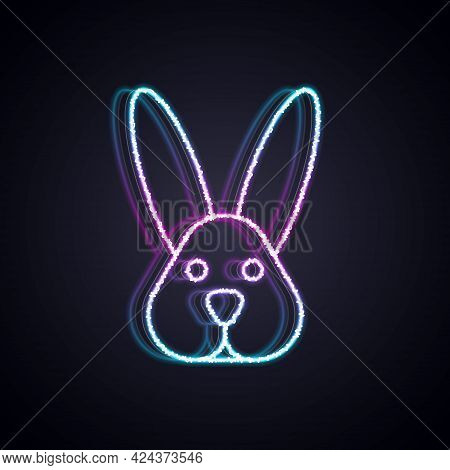 Glowing Neon Line Animal Cruelty Free With Rabbit Icon Isolated Glowing Neon Line Background. Vector