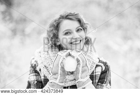 Posing For Photo. Trees Covered White Snow. Girl Have Fun Playing Snowball. Frosty And Funny Weather
