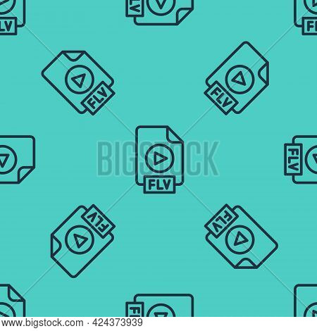 Black Line Flv File Document Video File Format. Download Flv Button Icon Isolated Seamless Pattern O
