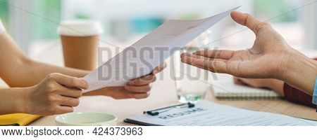 Banner Of Closeup Young Asian Woman Graduate Hand Holding And Submitting The Resume Document To Two