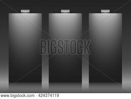 Three Black Vector Backdrops With Copy Space.