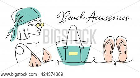 Beach Accessories Vector Banner, Poster, Background. Headscarf, Sun Glasses, Summer Bag, Slippers. O