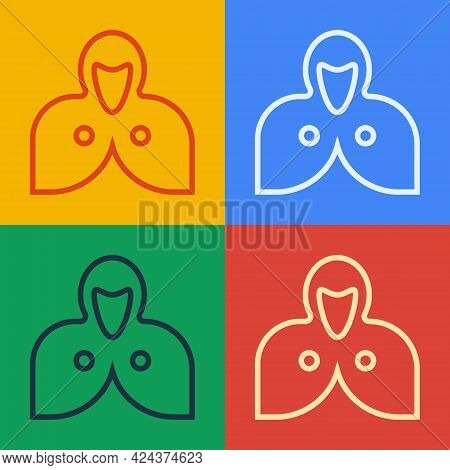 Pop Art Line Mantle, Cloak, Cape Icon Isolated On Color Background. Magic Cloak Of Mage, Wizard And