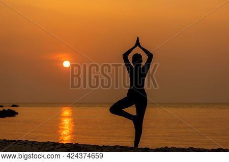 Silhouette Lifestyle Woman Yoga Exercise For Healthy Life. Young Girl Or People Pose Balance Body V