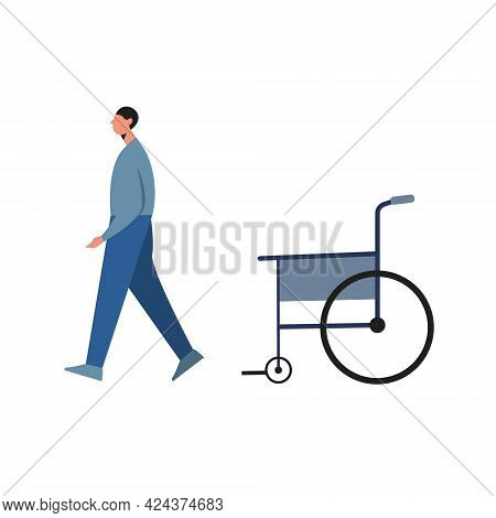 Injured Young Man Recovering And Getting Up From Wheelchair Isolated On White. Vector Illustration C