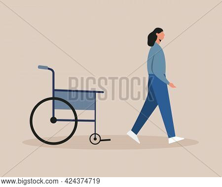Young Woman Walking From The Wheelchair After Recover. Vector Illustration Cartoon Flat Style