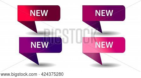 New Set Of Banners, Icons. Design Of Labels, Tags, Flags From Red Ribbons. Stickers, Shopping Tags F
