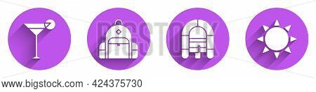 Set Martini Glass, Hiking Backpack, Rafting Boat And Sun Icon With Long Shadow. Vector