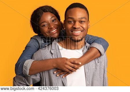Closeup Shot Of Happy Romantic Young African American Couple Embracing And Smiling