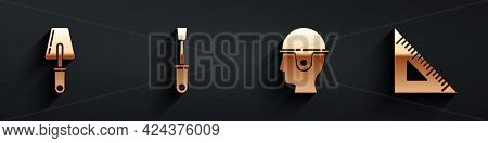 Set Trowel, Screwdriver, Worker Safety Helmet And Triangular Ruler Icon With Long Shadow. Vector
