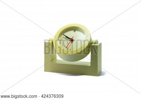 Old Classic Round Table Clock Isolated On White Background As Symbol Of Eternity With Clock, Symbol