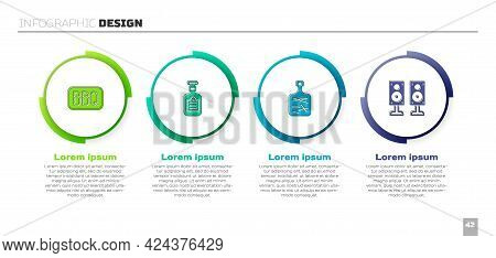 Set Barbecue, Sauce Bottle, Cutting Board And Stereo Speaker. Business Infographic Template. Vector