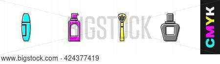 Set Mascara Brush, Spray Can For Hairspray, Makeup And Perfume Icon. Vector