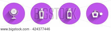 Set Round Makeup Mirror, Bottle Of Shampoo, Spray Can For Hairspray And Perfume Icon With Long Shado