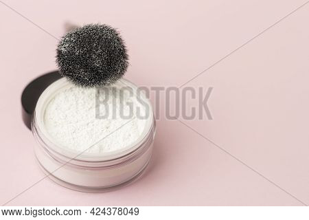 Loose White Face Powder With Black Brush. Professional Cosmetics.